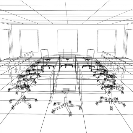 meeting room: Interior office meeting room. Tracing illustration of 3d.