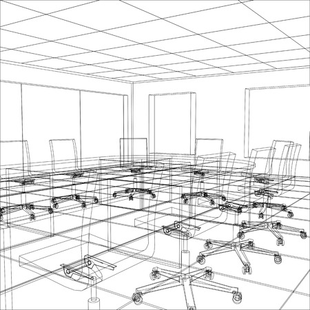 meeting room: Interior office meeting room. Tracing illustration