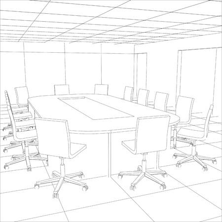 Interior office meeting room. Tracing illustration  Vettoriali