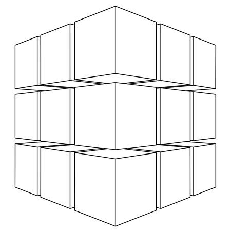 Wire frame mesh outline cube. V