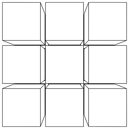 wire frame: Wire frame mesh outline cube. Vector Illustration