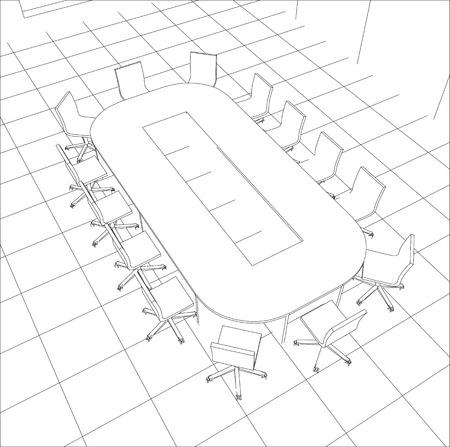 Interior office meeting room. Tracing illustration   Ilustração