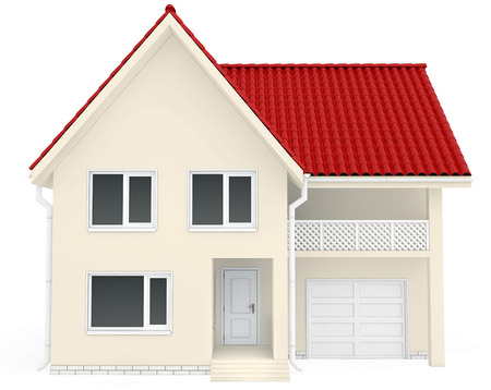 House with red roof, balcony and garage at the bottom. isolated in white background.