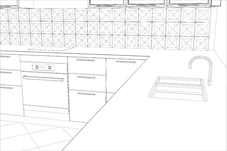 bstract: bstract sketch design of interior kitchen. Illustration created of 3d.