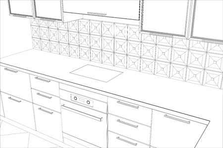 design process in wire-frame. Illustration created of 3d.