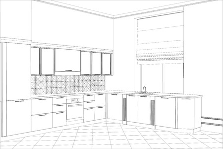 Facade kitchen vector sketch interior. Illustration created of 3d.