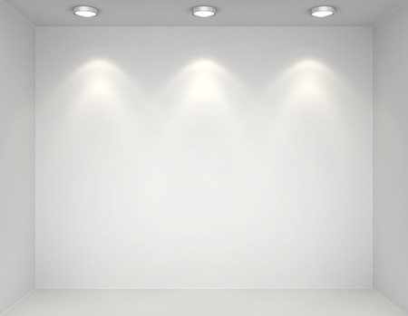interior spaces: Showcase gallery with light bulbs. 3d render
