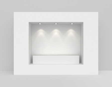 window display: Showcase with lights and podiums for samples product. Stock Photo
