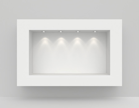 Niche in the wall with light sources. 3d render