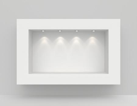 Nicho en la pared con las fuentes de luz. 3d Foto de archivo - 38806690