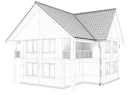 house wireframe technology. Isolated on white background.