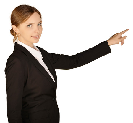forefinger: Business woman shows forefinger ahead of yourself. white background.