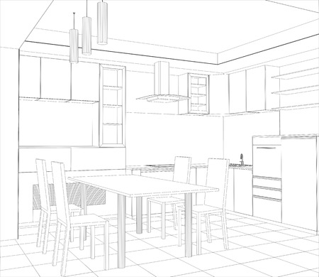 Facade kitchen vector sketch interior. Illustration created of 3d.
