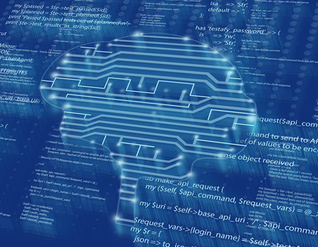 mother board: silhouette of the brain in form drawing circuits.