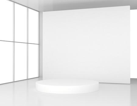 White room with a round pedestal. 3d render Archivio Fotografico