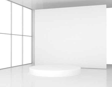 White room with a round pedestal. 3d render Stock Photo