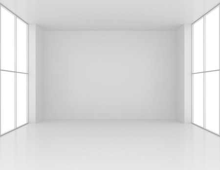 Clean and empty white room with large windows. 3d render Stock Photo