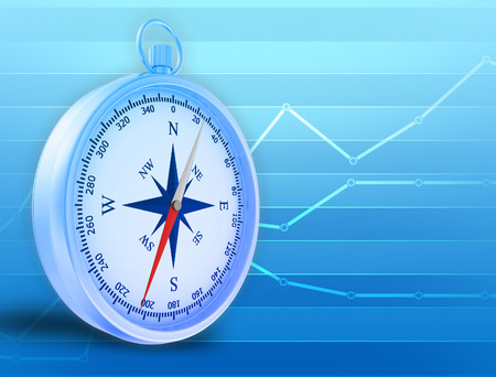 blue lines: Abstract illustration with compass and blue lines in the background.