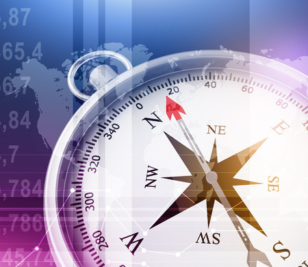 Abstract illustration with compass and world map in the foreground.
