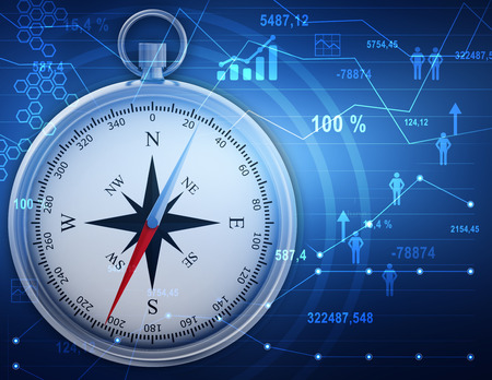 Illustration compass icons and people with financial charts.