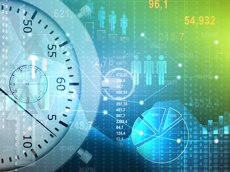 Abstract conceptual illustration of stopwatch and icons people with charts. Stock Photo