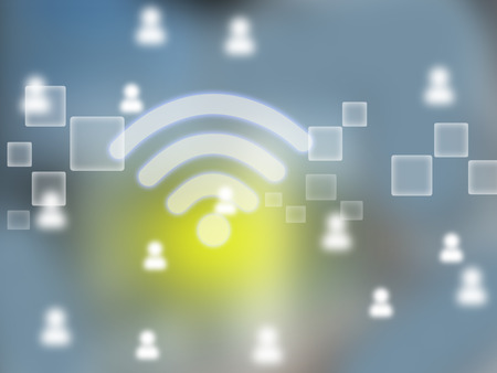 Abstract illustration with wi-fi icon and men.