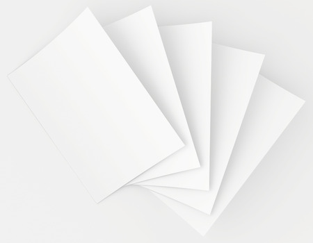 Realistic 3D rendering of blank white sheets paper. photo