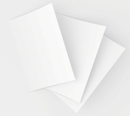 white letters: Realistic 3D rendering of blank white sheets paper.