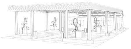 Gas station wire-frame line vector. Illustration created of 3d. EPS 10 vector format. Illustration