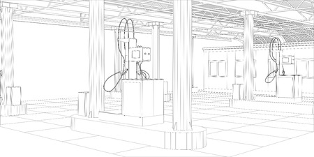 Gas station wire-frame line vector. Illustration created of 3d.  vector format.