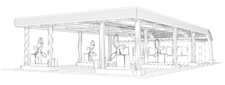 Gas station wire-frame line vector. Illustration created of 3d.