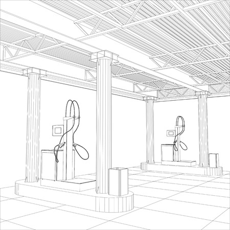 power station: Gas station wire-frame line vector. Illustration created of 3d.