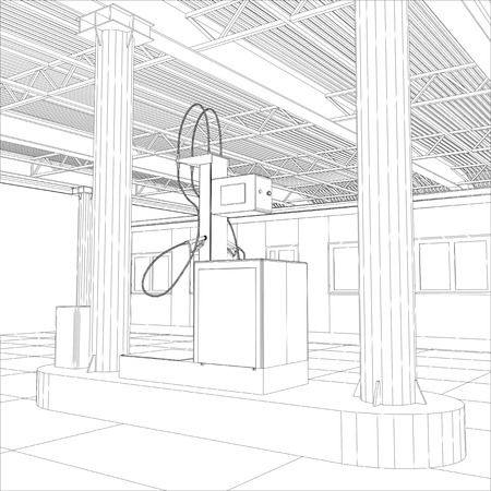 Gas Station Wire-frame Line Vector. Illustration Created Of 3d ...