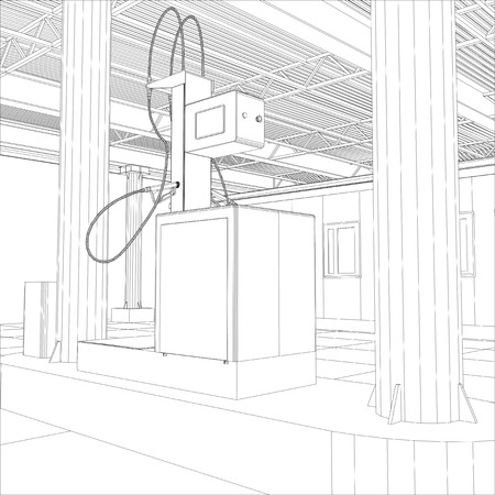 energize: Gas station wire-frame line vector. Illustration created of 3d.
