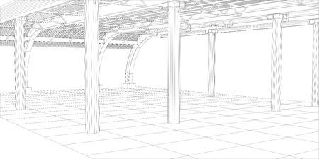 edificio industrial: Línea abstracta vector de construcción de edificios industriales. Ilustración creada de 3d. Vectores