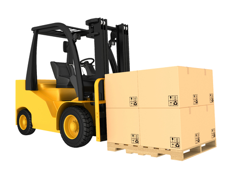 fork lifts trucks: Forklift truck with boxes on pallet. Isolated on white . Stock Photo