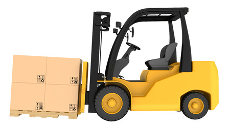 forklift: Forklift truck with boxes on wooden pallet. Isolated on white