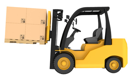 forklift: Forklift truck with boxes on pallet. Isolated on white  Stock Photo