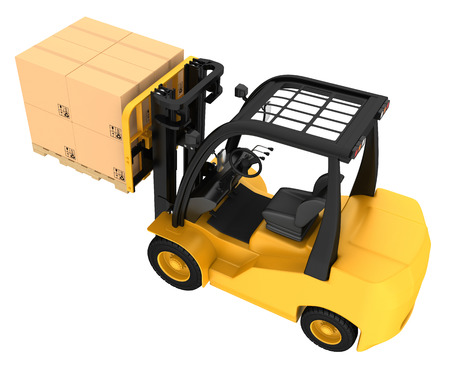 fork lifts trucks: Forklift truck with boxes on wooden pallet. Isolated on white