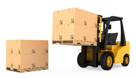 fork lifts trucks: Forklift truck with cardboard boxes on wooden pallet. Stock Photo