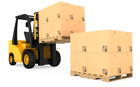 forklift: Forklift truck with cardboard boxes on wooden pallet. Stock Photo