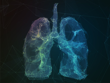 medical light: The abstract image of human lungs in the form of lines of communication network.