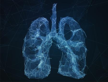 L'image abstraite des poumons humains sous la forme de lignes de réseau de communication.