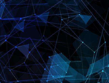 抽象的な青いライン ネットワークの背景。世界的なインターネット技術の概念。