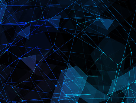 Abstract blue line network background. Technology concept of global internet.
