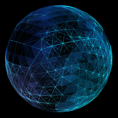 communication concept: Abstract blue network globe. Technology concept of global communication.