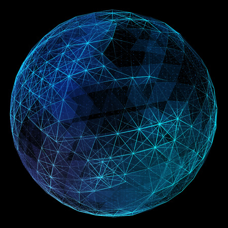 globe grid: Abstract blue network globe. Technology concept of global communication.