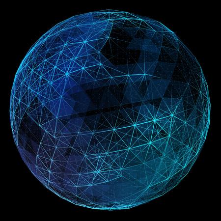 Abstract globe réseau bleu. Concept de la technologie de la communication globale. Banque d'images - 44363183