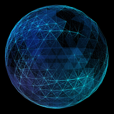 globe grid: Abstract network globe. Technology concept of global communication.