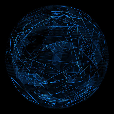 opacity: Abstract globe glow blue line and opacity triangle. Spherical 3d illustration Stock Photo
